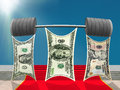 Dollars Team Lifting Heavy Barbell Of Success. Royalty Free Stock Photos - 84216978