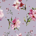 Seamless Pattern With Pink Peonies And Small Hearts. Watercolor Painting. Stock Photo - 84223400