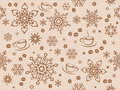 Kraft Paper Textured Seamless Christmas Pattern With Coffee Bean Stock Photo - 84228360
