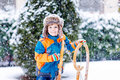 Little Kid Boy Enjoying Sleigh Ride In Winter Stock Photos - 84233003