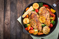 Grilled Chicken Breast And Vegetables Royalty Free Stock Images - 84234669