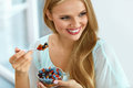 Healthy Diet. Woman Eating Cereal, Berries In Morning. Nutrition Stock Photo - 84238450