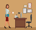 Woman With Cup Coffee Office Desk Chair Laptop Lamp Royalty Free Stock Photography - 84253377
