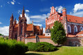 St. Anne`s Church And Church Of The Bernardine Monastery In Vilnius` Old Town, On The Bank Of The Vilnia River Stock Photo - 84256040