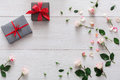 Valentine Day Background, Gift Boxes And Flowers On White Wood Royalty Free Stock Photo - 84272945