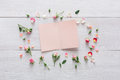Valentine Day Background, Paper Card And Flowers On White Wood Stock Images - 84273044