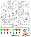 Educational Page With Exercises For Children On Addition And Subtraction. Need To Solve Examples And To Paint The Image In Relevan Stock Images - 84277604
