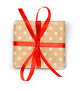 Christmas Holiday Gift Box In Spotted Paper Isolated On White Royalty Free Stock Photo - 84282765