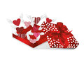 Open Gift Red Box With Departing Hearts With Wings. Valentine`s Stock Photo - 84284990