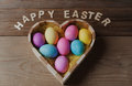 Happy Easter - Colored Eggs In A Heart Shaped Bowl Stock Photography - 84296672