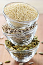 Stacked Bowls Of Seeds Royalty Free Stock Photography - 8439147