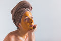Woman With An Egg Mask On Her Face Royalty Free Stock Photos - 84302628