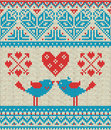 Seamless Pattern On The Theme Of Holiday Valentine`s Day With An Image Of The Norwegian And Fairisle Patterns. Heart, Birds In A K Stock Photography - 84305022