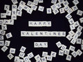 Valentine Background : Happy Valentine`s Day Text From Scrabble Stock Photos - 84322673