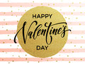 Happy Valentine Day Golden Striped Greeting Card Stock Photos - 84326803