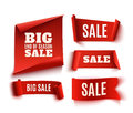 Set Of Five Red, Realistic, Sale Paper Banners. Stock Images - 84332814