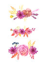 Watercolor Delicate Pink Flowers And Leaves Royalty Free Stock Photography - 84333587