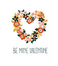 Hand Drawn Valentine Card With Floral Heart And Lettering - `Be Mine Valentine`. Vector Floral Frame Design. Royalty Free Stock Images - 84335679