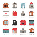 Vector Government Building Colored Icons. Municipal City Architecture Symbols Isolated On White Background Royalty Free Stock Photo - 84339405