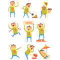 Lucky Man Having Good Luck And Sudden Stroke Of Fortune Series Of Comic Vector Illustrations Stock Photos - 84343083