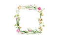Wreath Frame Made Of Pink And Beige Wildflowers, Green Leaves, Branches On White Background Royalty Free Stock Photography - 84344297
