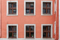 Apartment Building Windows In An Old City Stock Image - 84349301
