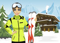 Female Mountain Skier Standing In Front Of Chalet In Winter Ski Resort Royalty Free Stock Photography - 84359527