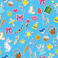 Seamless Illustration With Simple Icons On A Theme The Holiday Of Easter ,icons Stickers On Blue Background Royalty Free Stock Images - 84361069
