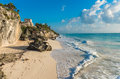White Sand Beach And Ruins Of Tulum, Yuacatan, Mexico Royalty Free Stock Photo - 84367305