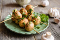 Grilled Mushroom Skewers With Garlic And Parsley Stock Photo - 84372270