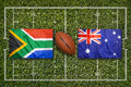 South Africa Vs. Australia Flags On Rugby Field Royalty Free Stock Images - 84381089