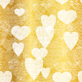 Vector Golden White Hearts Textile Texture Seamless Pattern Background. Great For Elegant Gold  Fabric, Cards, Wedding Royalty Free Stock Photo - 84382055