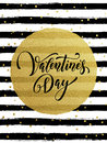 Happy Valentine Day Golden Striped Greeting Card Royalty Free Stock Photography - 84388337