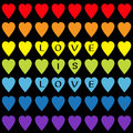 Love Is Love Black Text. Rainbow Heart Set. Seamless Pattern. Wrapping Paper, Textile Template. Lgbt Sign Symbol. Gay Flag Color. Stock Image - 84398891