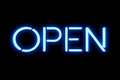 Flickering Blinking Blue Neon Sign On Black Background, Open Shop Bar Sign Stock Photography - 84403022