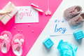 Birth Child Baby Shower Concept Boy Or Girl Top View Royalty Free Stock Photo - 84403885