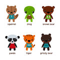Cartoon Animal Characters With Smiley Faces Royalty Free Stock Images - 84410549