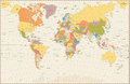 Detailed Retro Political World Map Royalty Free Stock Image - 84422076