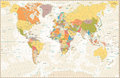 Old Retro World Map With Lakes And Rivers Stock Photo - 84422190