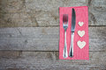 Fork, Knife And Wooden Hearts On A Red Checkered Napkin Stock Photography - 84424842