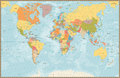 Large Detailed Vintage Color Political World Map With Lakes And Royalty Free Stock Images - 84430449