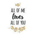 Typography Romantic Poster About Love. Vector Quote. Gold Roses Royalty Free Stock Image - 84436996