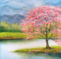 Watercolor Landscape. Flowering Pink Tree By Lake Royalty Free Stock Photos - 84439738