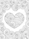 Coloring Page With Heart And Wave Curly Ornament. Stock Photo - 84460370