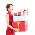 Happy Chinese New Year. Young Woman Holding Gift Box Stock Photo - 84460790