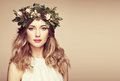 Beautiful Blonde Woman With Flower Wreath On Her Head Stock Images - 84469144