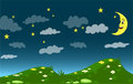 Dark Night, Cartoon Moon And Stars Sky, Hills With Grass And Flowers Royalty Free Stock Image - 84474946