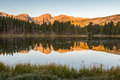Hallett Peak Reflection, Sprague Lake, Rocky Mountain National P Stock Photography - 84482732
