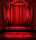 Open Red Curtains With Seats And Copy Space. Stock Images - 84489124