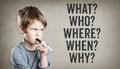 5W Questions, What, Who, Where, When, Why, Boy On Grunge Backgro Stock Images - 84491244